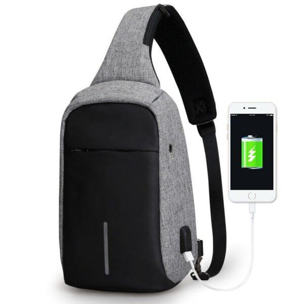 Городской рюкзак антивор Bobby Mini с USB, Бобби, рюкзак через плечо Серый