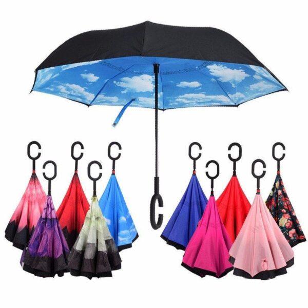 Unbrella зонт наоборот, ветрозащитный зонт обратного сложения, зонт антиветер