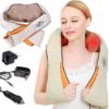 Массажер для шеи спины с ИК-подогревом   Massager of neck kneading Plus   Роликовый массажер-накидка на плечи 42169