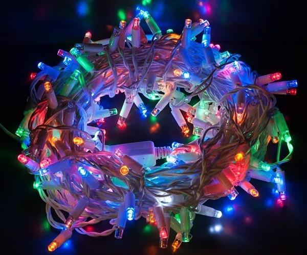 Гирлянда 100LED (RD-7138) 9 метров, провод белый, разноцветные лампочки