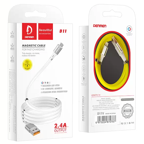 Кабель USB - Micro Denmen D11V 2,4A Magnetic Fast Charging Cable