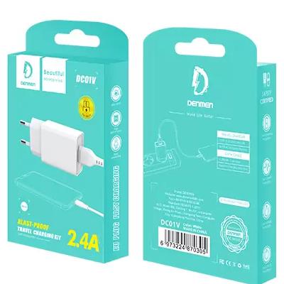 Сетевое зарядное устройство Denmen DC01 1 USB 5V 2.4A + кабель Micro