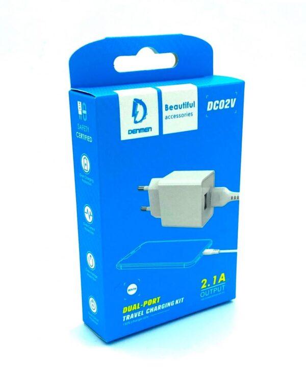Сетевое зарядное устройство Denmen DC02V 5V 2,1A + кабель Micro